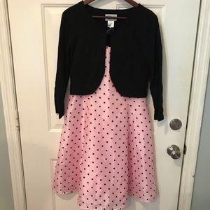 Retro Pink Polka Dot Dress with Cardigan